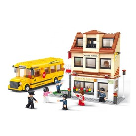Sluban Town M38-B0333 Školní autobus se školou