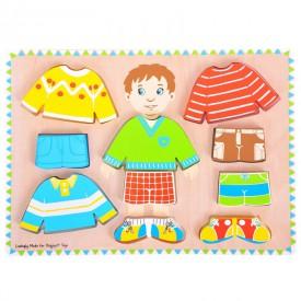 Dřevěné oblékací puzzle kluk - tloušťka puzzle 2cm