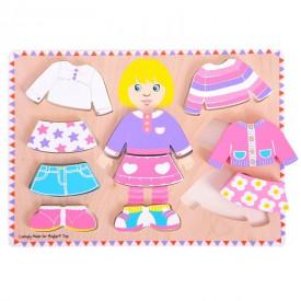 Dřevěné oblékací puzzle holčička - tloušťka puzzle 2cm