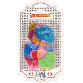 EASY Dekorativní pěnové nálepky - MIX barev 12 třpytivých srdíček + 12 puntíkatých