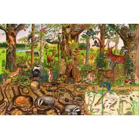 Dřevěné hračky - Puzzle lesní svět 48 dílků