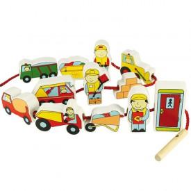 Dřevěné hračky - provlékání stavebních strojů