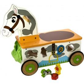 Bigjigs dřevěný motorický vozík Koník
