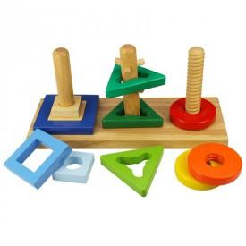 Dřevěná motorická hračka Bigjigs - Nasaď a otoč