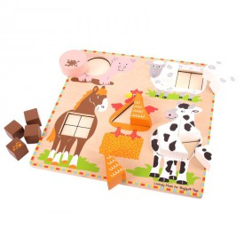 Dřevěná hračka - vkládání tvarů na desce - zvířátka farmy