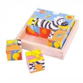 Dřevěné obrázkové kostky kubusy - Safari - 9 kostek