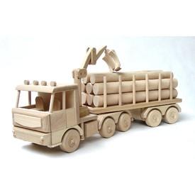 Ceeda Cavity - dřevěné auto - Tirák s kládama velký 70cm