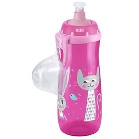 NUK Dětská láhev Sports Cup Králíček a kočička 450 ml růžová