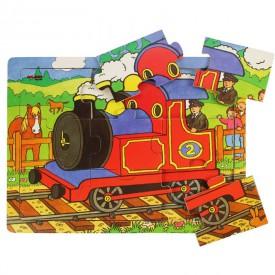 Dřevěné hračky - Puzzle Vlak - 9 dílků