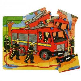 Dřevěné hračky - Puzzle Hasiči - 9 dílků