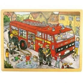 Dřevěné hračky - Puzzle Hasiči - 24 dílků