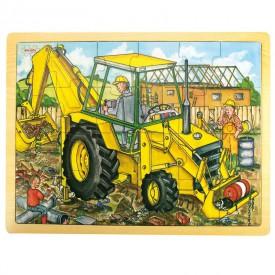 Dřevěné hračky - Puzzle Bagr - 24 dílků