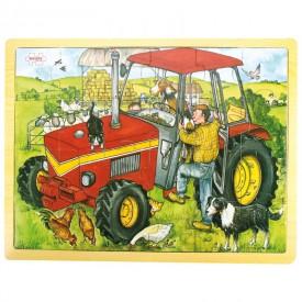 Dřevěné hračky - Puzzle Traktor - 24 dílků