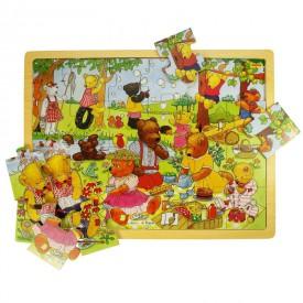 Dřevěné hračky - Puzzle medvědí piknik - 24 dílků