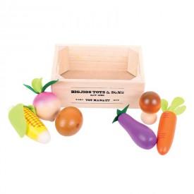 Bigjigs Dřevěné potraviny - Zelenina v přepravce