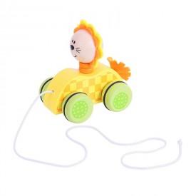 Dřevěné hračky - Tahací hračka na provázku - lvíček