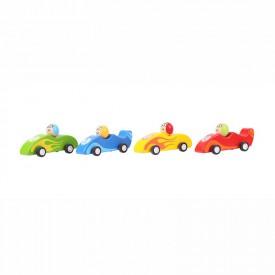 Bigjigs Dřevěné hračky - Barevné dřevěné závodní auto