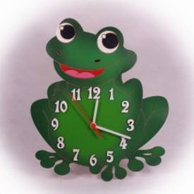 Dřevěné hodiny Žába