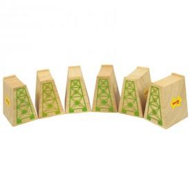 Dřevěné vláčkodráhy Bigjigs - Mostní pilíře 6ks