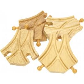 Koleje vláčkodráhy Bigjigs - Symetrická výhybka - 4ks
