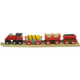 Dřevěná vláčkodráha Bigjigs - Nákladní vlak červený