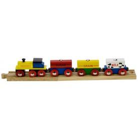 Dřevěná vláčkodráha Bigjigs - Nákladní vlak s potravinami