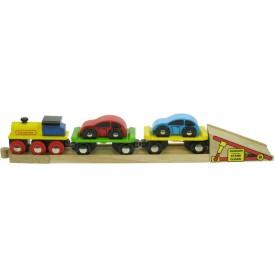 Dřevěný vláček vláčkodráhy - Nákladní vlak s auty a kolejí