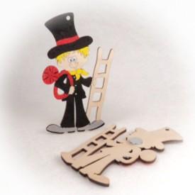 Dřevěné magnetky - Kominíček s žebříkem