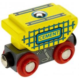 Vláček dřevěné vláčkodráhy Bigjigs - Vagon s cementem