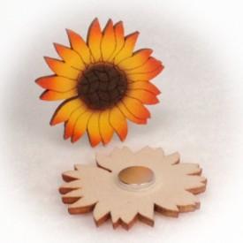 Dřevěné magnetky - Slunečnice květ 5cm