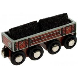 Dřevěná vláčkodráha Bigjigs - Dlouhý vagónek s uhlím