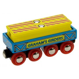 Dřevěná vláčkodráha Bigjigs - Vagónek se dvěma nosníkama Bigjigs Rail