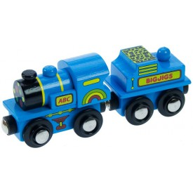 Dřevěná vláčkodráha Bigjigs - Modrá mašinka s tendrem
