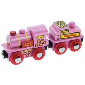 Dřevěná vláčkodráha Bigjigs - Růžová mašinka s tendrem