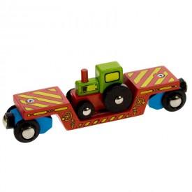 Příslušenství vláčkodráhy - Bigjigs - Vagon s traktorem