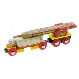 Dřevěná vláčkodráha Bigjigs - Vagónek s jeřábem na koleje