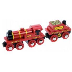 Dřevěná vláčkodráha Bigjigs - Červená lokomotiva s tendrem