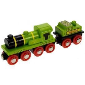 Dřevěná vláčkodráha Bigjigs - Zelená lokomotiva s tendrem