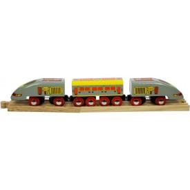 Dřevěný vláček vláčkodráhy - Osobní vlak - Rychlík Eurostar