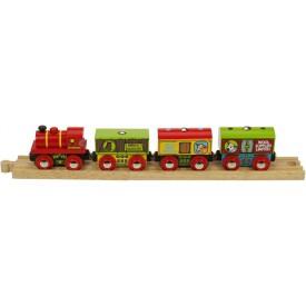 Dřevěná vláčkodráha Bigjigs - Farmářský vlak