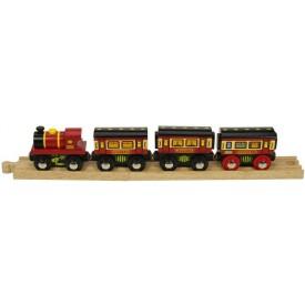 Dřevěná vláčkodráha Bigjigs - Spací vlak