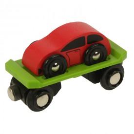 Příslušenství vláčkodráhy - Bigjigs - Vagon s autem