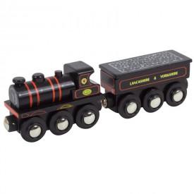 Dřevěná vláčkodráha Bigjigs - Černá lokomotiva KWVR 957