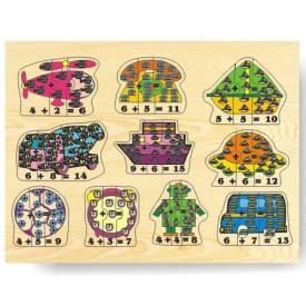 Dřevěné hračky - Vkládací puzzle - Matematika počítání do 15