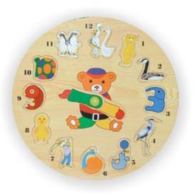 Dřevěné hračky - Vkládací výukové puzzle - Hodiny zvířata