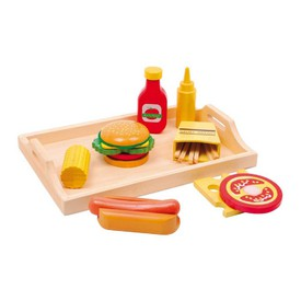 Dřevěné hračky pro holky - Dřevěné potraviny na podnose