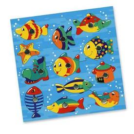 Dřevěné hračky - Rybičky ve vodě, magnetická hra, bez udičky