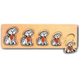 Dřevěné hračky - Vkládací puzzle Vkládačka Pejsci Dalmatini