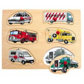 Dřevěné hračky - Vkládací puzzle - Dopravní prostředky A