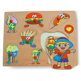 Dřevěné hračky - Vkládací puzzle - Vkládačka - Potraviny